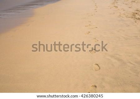 tracks on a sand - stock photo