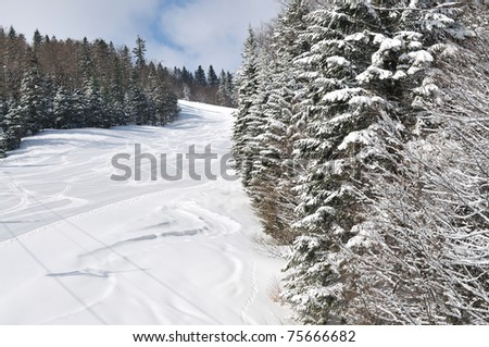 tracks on ski slopes in snow at beautiful sunny  winter day with blue sky - stock photo