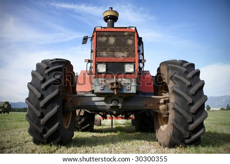 Tractor against blue sky