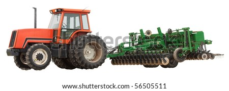 Tractor and plow isolated on a white background - stock photo