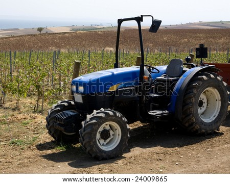 tractor at a vineyard
