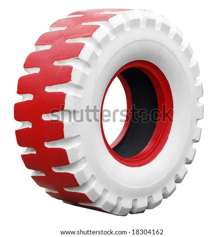 Tractor Back Tyre Painted Red and White isolated with clipping path - stock photo