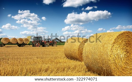 Tractor collecting straw bales - stock photo