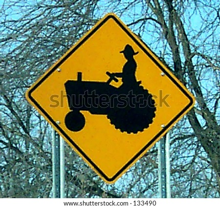 Tractor Crossing Sign - stock photo