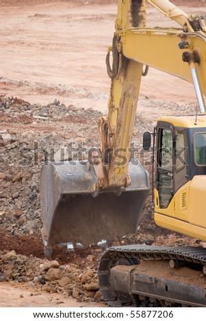 Tractor Excavating - stock photo