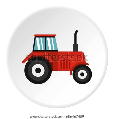Tractor icon in flat circle isolated  illustration for web