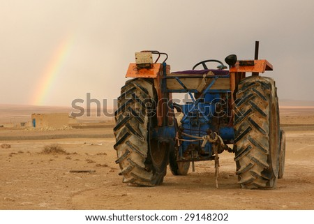 Tractor in a desert. Syria - stock photo