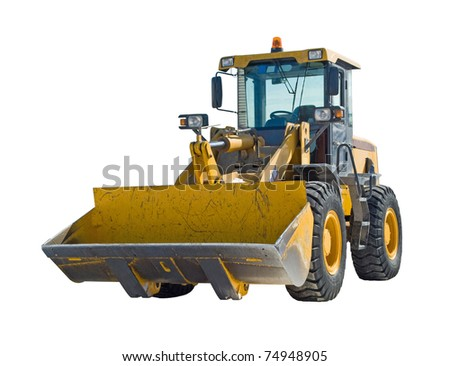 Tractor isolated on white background - stock photo