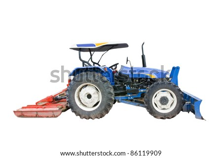 Tractor isolated on white background with clipping path - stock photo