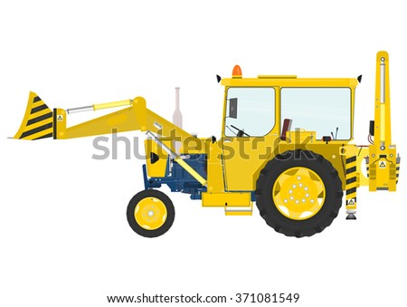 Tractor loader on the white background. Raster illustration.