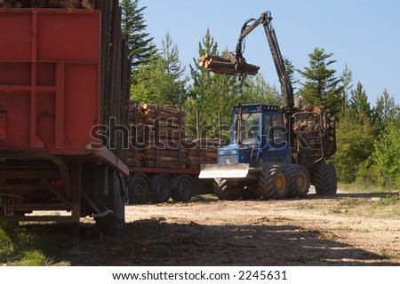 Tractor loading wood