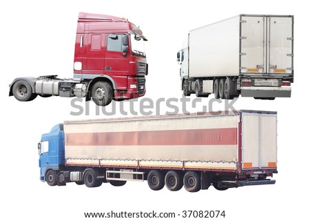 tractor lorries under the white background - stock photo