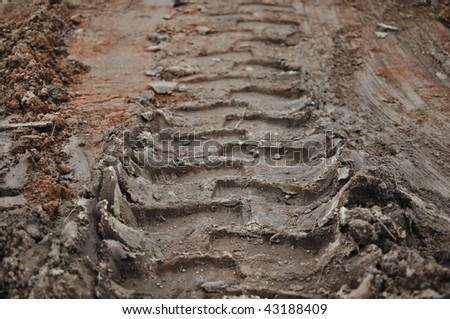Tractor Mud Dirt Track Background - stock photo
