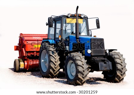 Tractor on a white background - stock photo