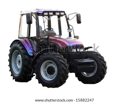 tractor on a white background on an agricultural exhibition