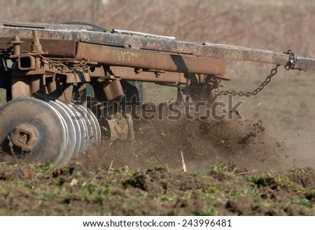 Tractor plowing in the field