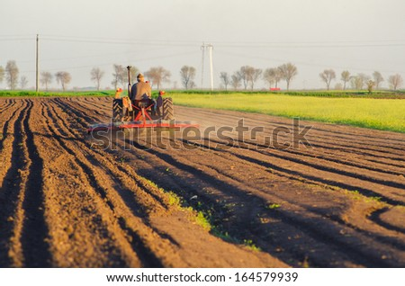 Tractor plowing the agricultural field on sunny summer day. - stock photo