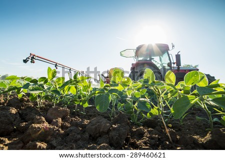 Tractor spraying soybean crops with pesticides and herbicides - stock photo
