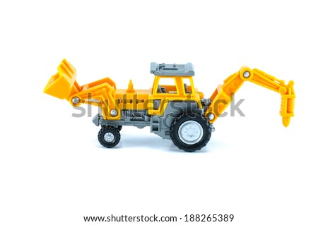 tractor toy in yellow color rear isolated white