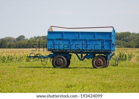 Tractor trailer on the agricultural fields