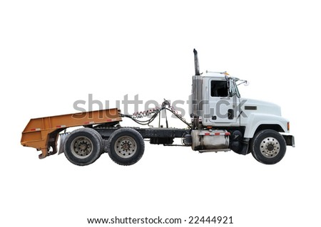 Tractor trailer on white - stock photo
