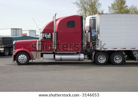 tractor trailer refrigerated - stock photo