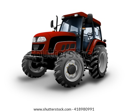 Tractor White Background. 3D illustration
