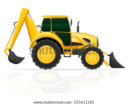 tractor with bucket front and rear illustration isolated on white background - stock photo