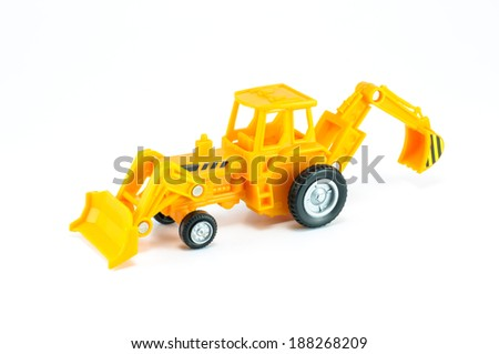 Tractor with front loader & Backhoe diger toy isolated on white bacground