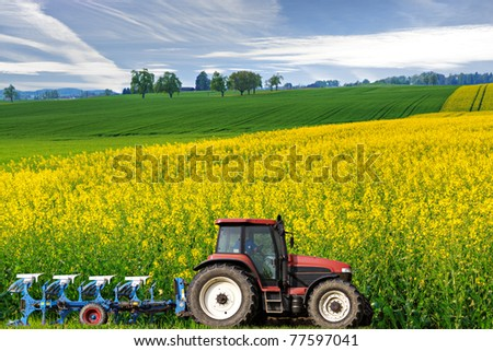 tractor with plough drives along beautiful sweeping blossoming bright yellow canola fields, concept for agriculture business - stock photo