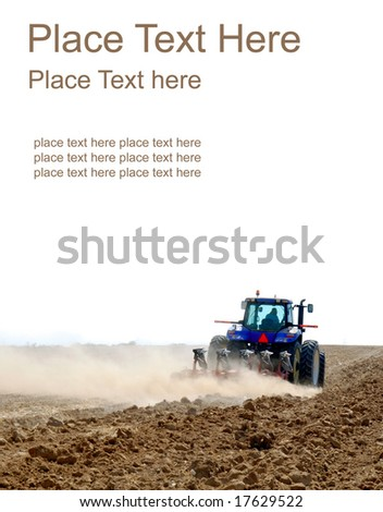 tractor working on a white background - stock photo