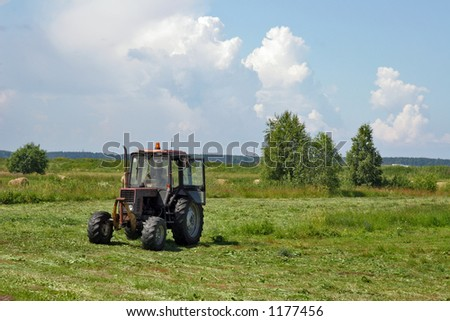tractor working on field