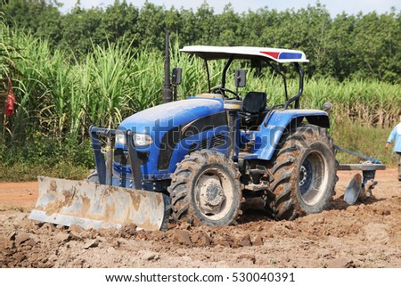 Tractor working on the farm