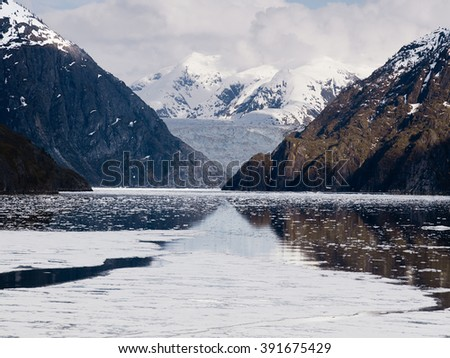 Tracy Arm Fjord and Sawyer Glacier, Alaska - stock photo