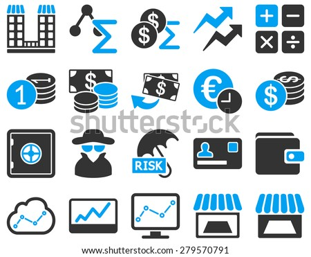 Trade business and accounting icon set. These flat bicolor symbols use modern corporate light blue and gray colors. Images are isolated on a white background. Angles are rounded. - stock photo