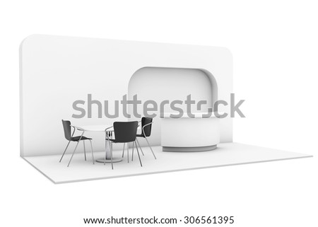 Trade Commercial Exhibition Stand on a white background. 3d rendering - stock photo