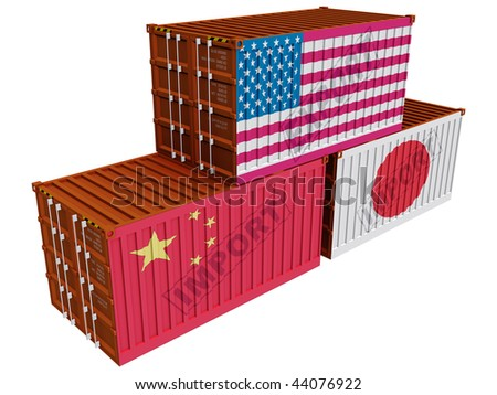 Trade containers USA Japan China - stock photo