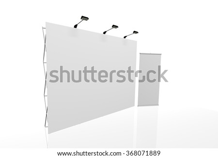 Trade exhibition stand, Exhibition Stand round, 3D rendering visualization of exhibition equipment, a set of stands, Advertising space on a white background, with space for text ads - stock photo