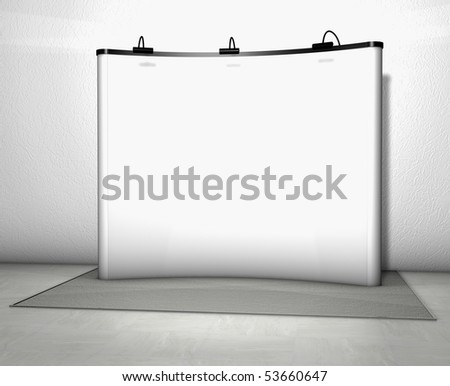 Trade exhibition stand with screen and counter - stock photo