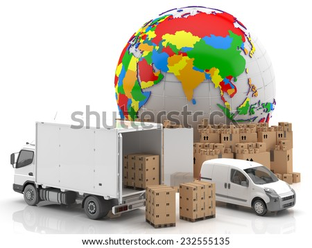 Trade in Asia - Transportation - Goods ready for transport and distribution, along with a truck and a van. Asian Symbol potential in the field of transport and distribution worldwide - 3D Render - stock photo