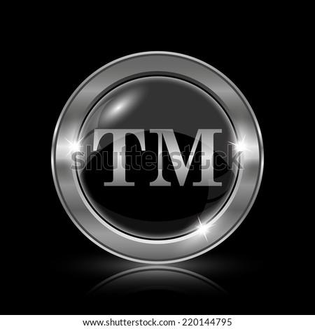 Trade mark icon. Internet button on black background.  - stock photo