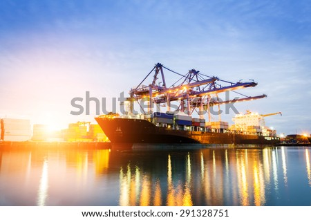 Trade Port at sunrise - stock photo