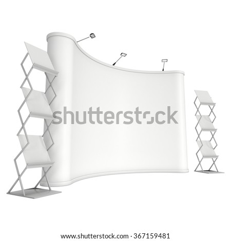 Trade show booth and brochure display stand for magazines white and blank. 3d render isolated on white background. High Resolution. Ad template for your design. - stock photo