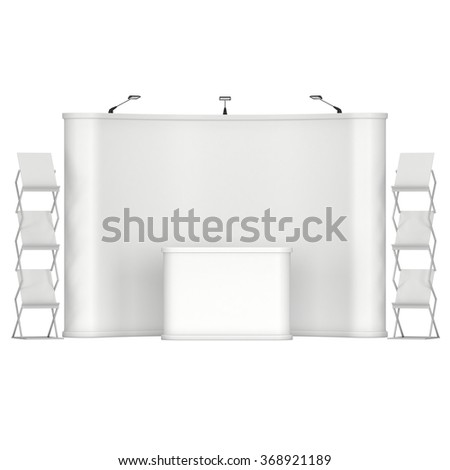 Trade show booth and magazine rack stand for magazines white and blank. 3d render isolated on white background. High Resolution. Ad template for your design. - stock photo