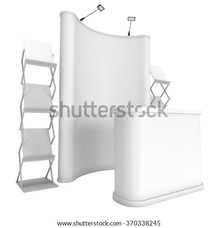 Trade show booth and magazine rack stand for magazines white and blank. 3d render isolated on white background. High Resolution. Ad template for your expo design.