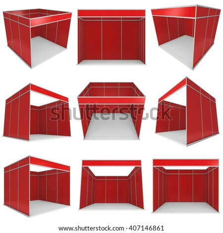 Trade Show Booth Red and White Blank Set. Blank Indoor Exhibition with Work Paths. 3d render isolated on white background. High Resolution Ad Template for your Expo design. - stock photo
