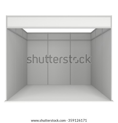 Trade Show Booth White and Blank. Blank Indoor Exhibition with Work Paths. 3d render isolated on white background. High Resolution Template for your design. - stock photo