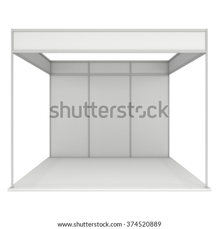 Trade Show Booth White and Blank. Blank Indoor Exhibition with Work Paths. 3d render isolated on white background. High Resolution Ad Template for your Expo design. - stock photo