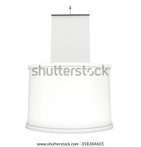 Trade show booth white and blank. 3d render isolated on white background. High Resolution Template for your design.