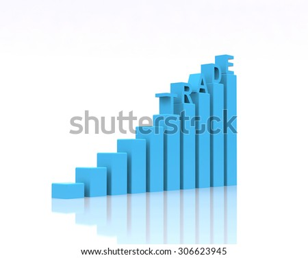Trade text on growth chart. - stock photo